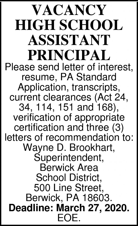 High School Assistant Principal