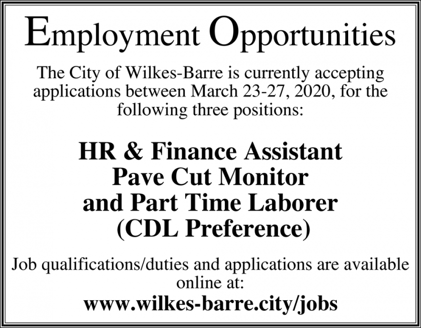 HR & Finance ASsistant, Pave Cut Monitor & Part Time Laborer