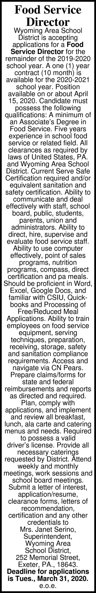 Food Service Director